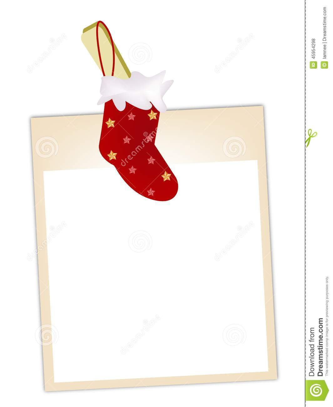 Blank Photos With Christmas Stocking Hanging On