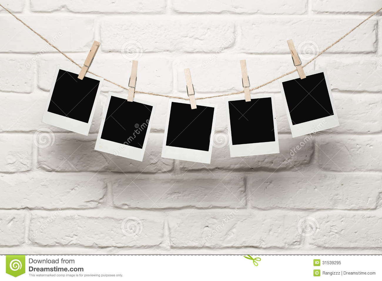 Design Hanging Photos blank photos hanging on a clothes line royalty free stock photo photo