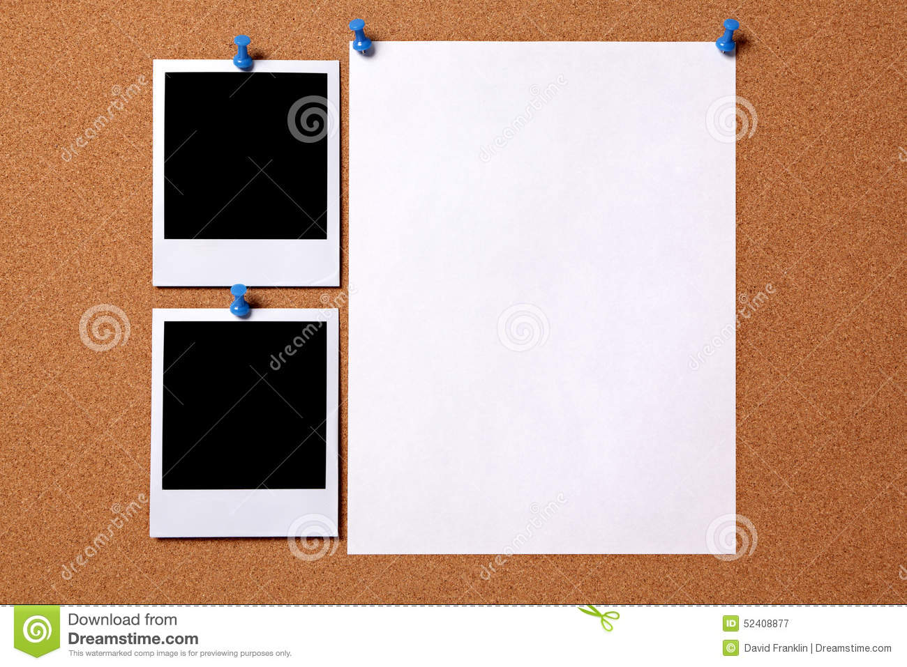 Blank Polaroid Photo Frame Paper Poster Cork Board Copy Space Stock ...