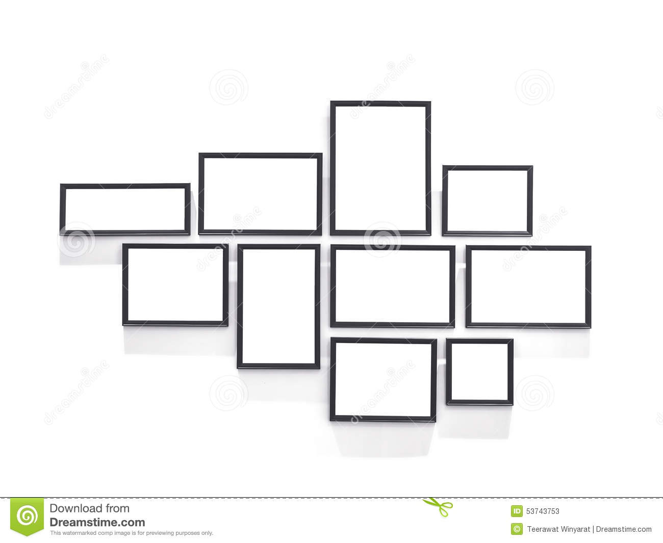 Blank picture frame design in group template on white wall for Picture wall layout