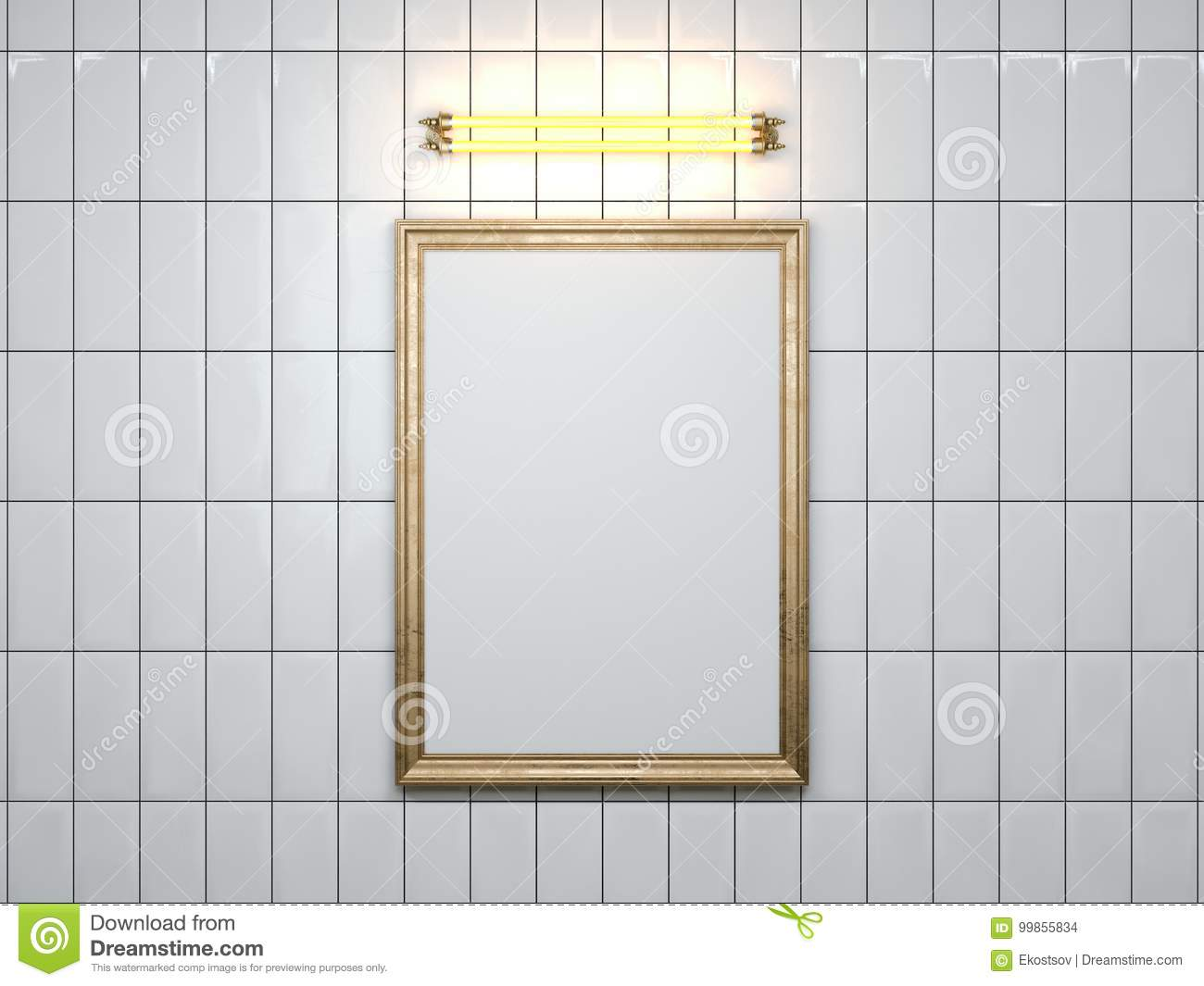 Blank Picture Frame With Lamp On The Wall. 3d Rendering Stock ...