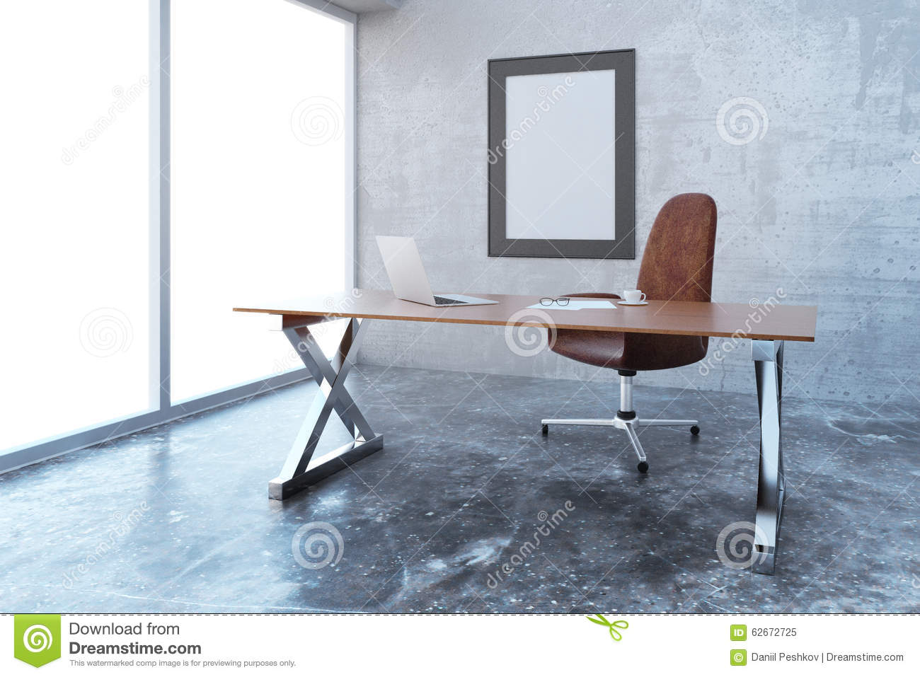 loft office furniture. Blank Picture Frame In Modern Loft Style Office With Furniture, Furniture N