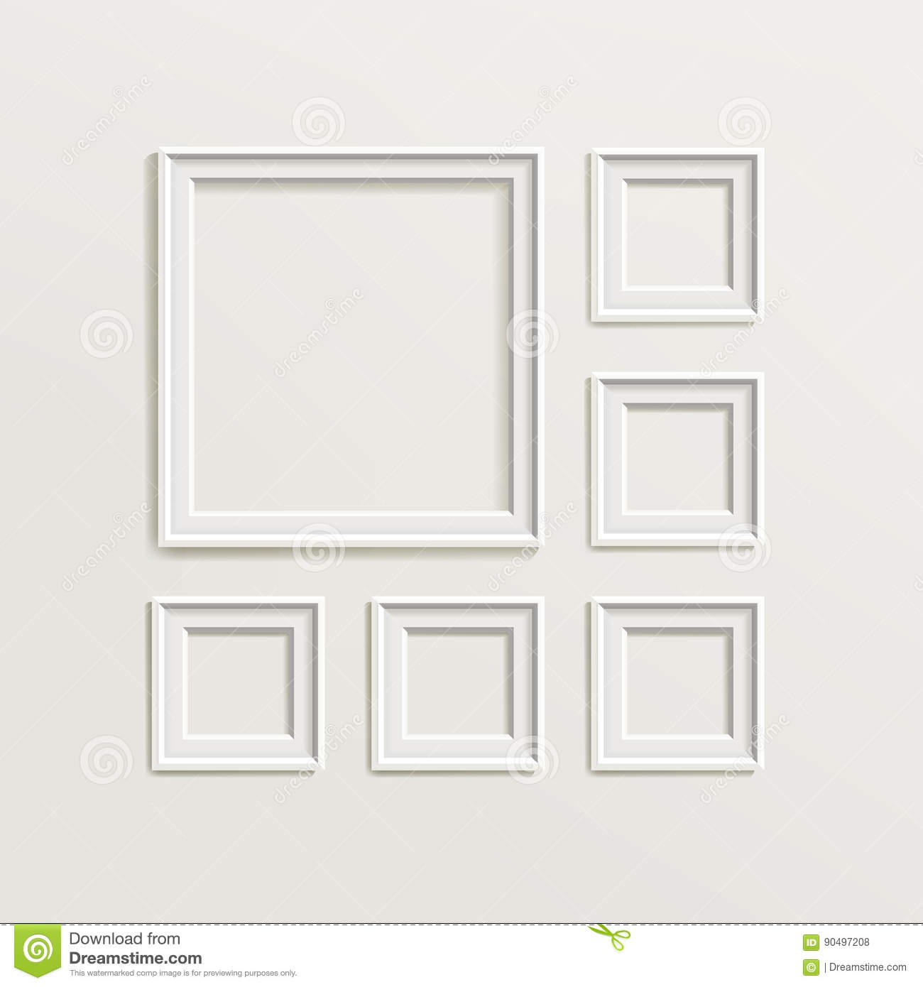 Wood frames set free vector - Blank Picture Frame Template Composition Set Gallery Interior With Empty Wooden Frames Indoor Vector Design