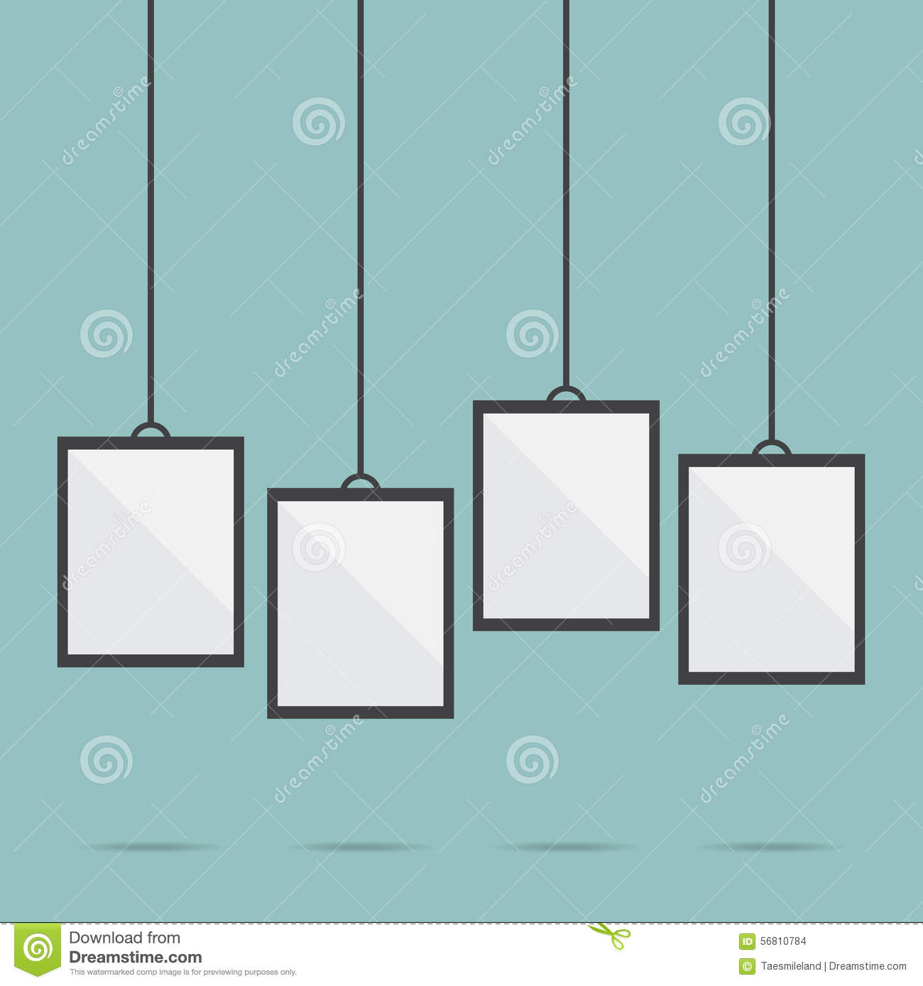 blank picture frame template hanging stock vector illustration of