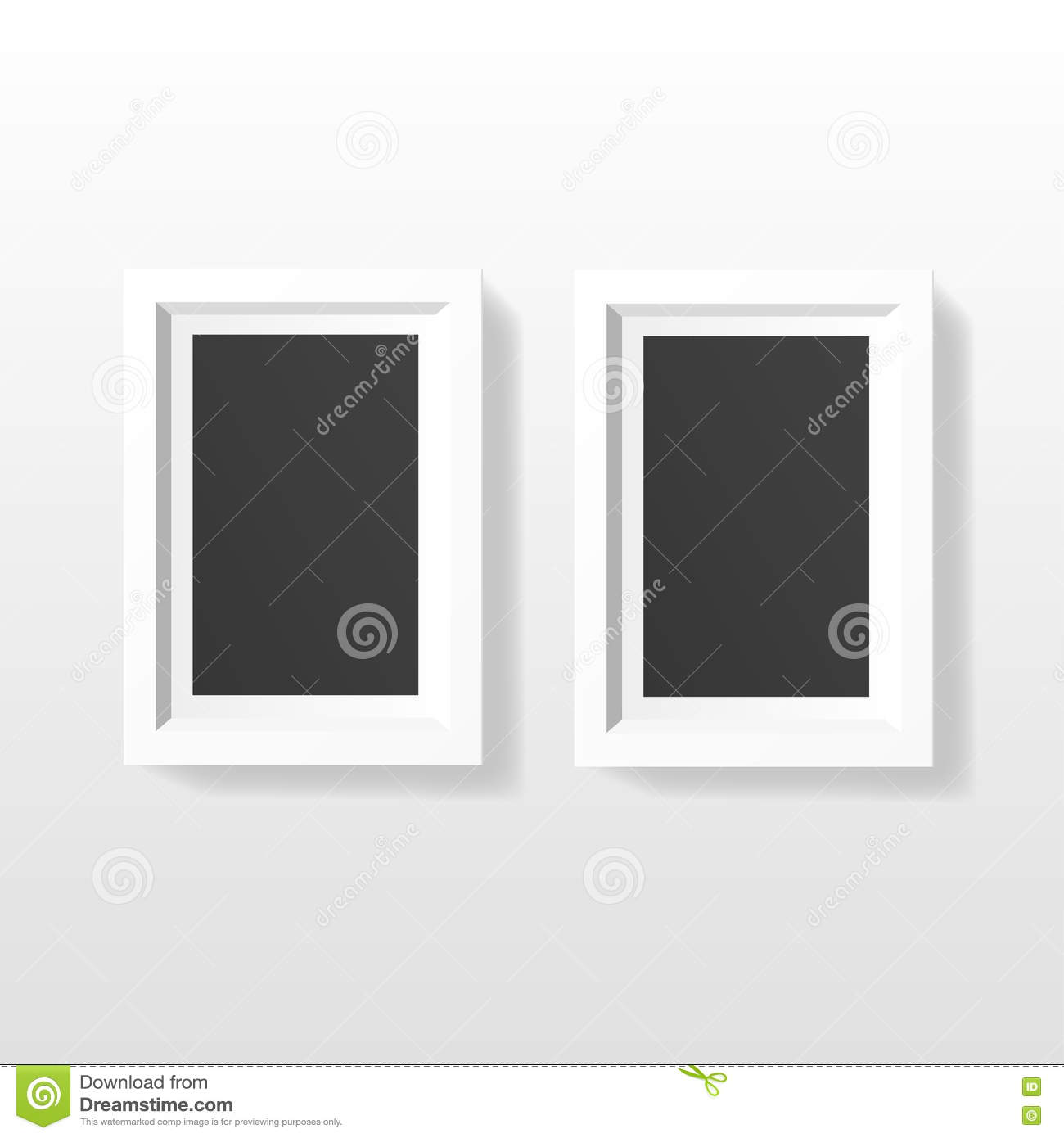 Blank Picture Frame Template Set Hanging On Wall Stock Vector ...