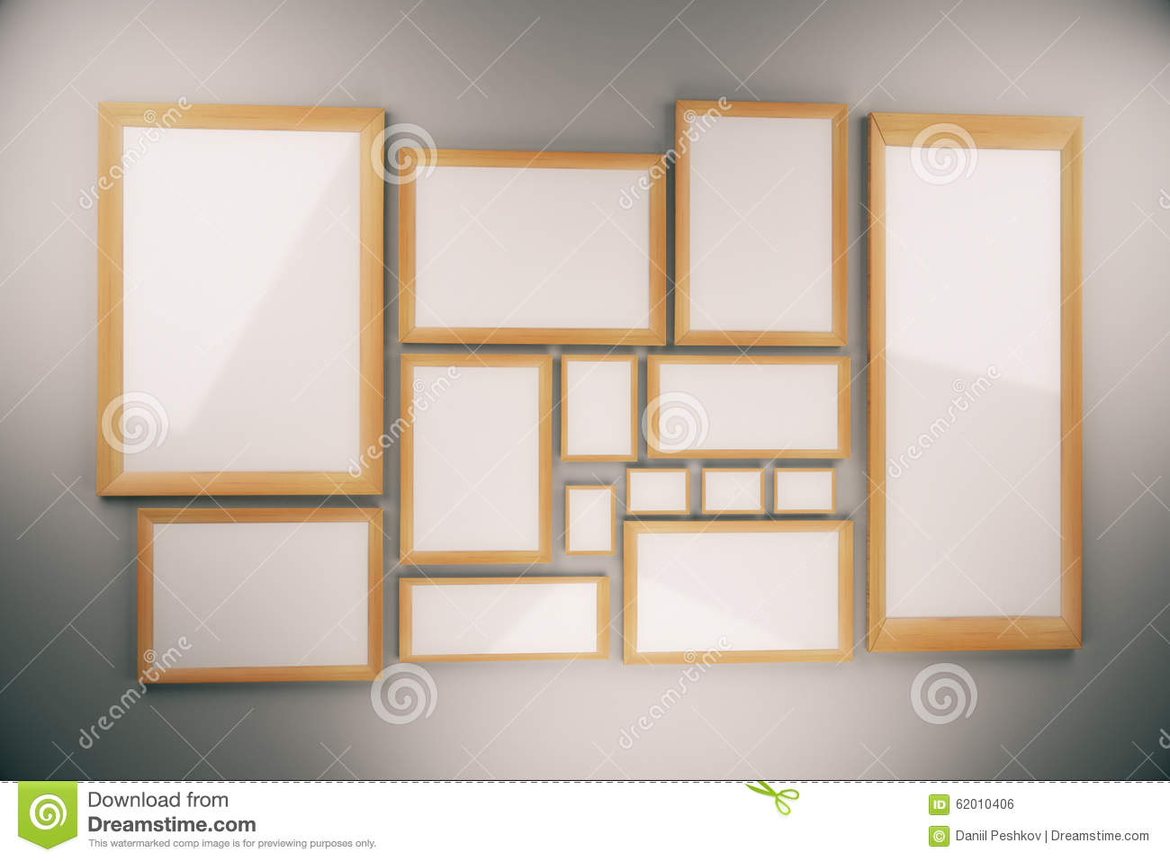 Blank picture frames composition on the wall stock - Composicion marcos pared ...