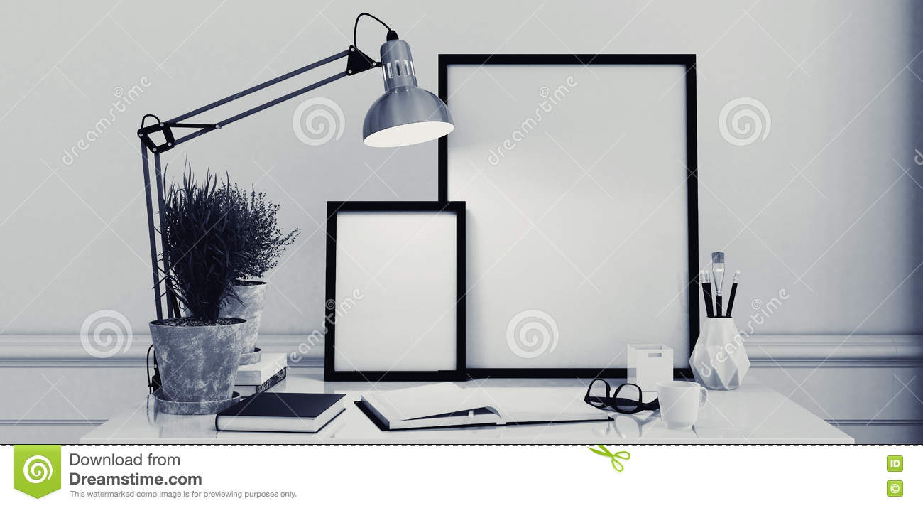 blank picture frames on a simple modern desk stock photo  image  - royaltyfree stock photo