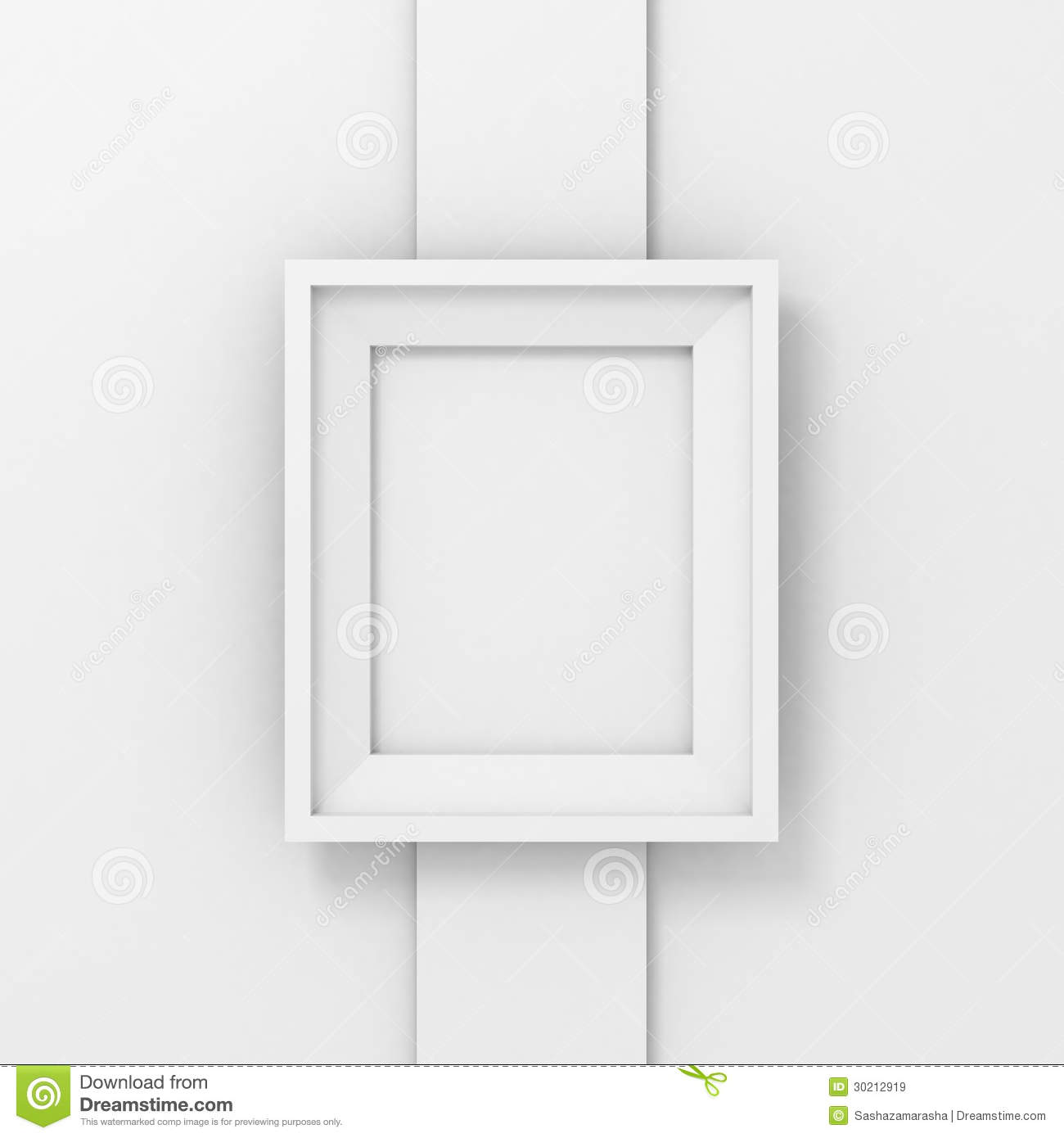 Blank Picture Or Photo Frame On A White Wall Column Stock ...