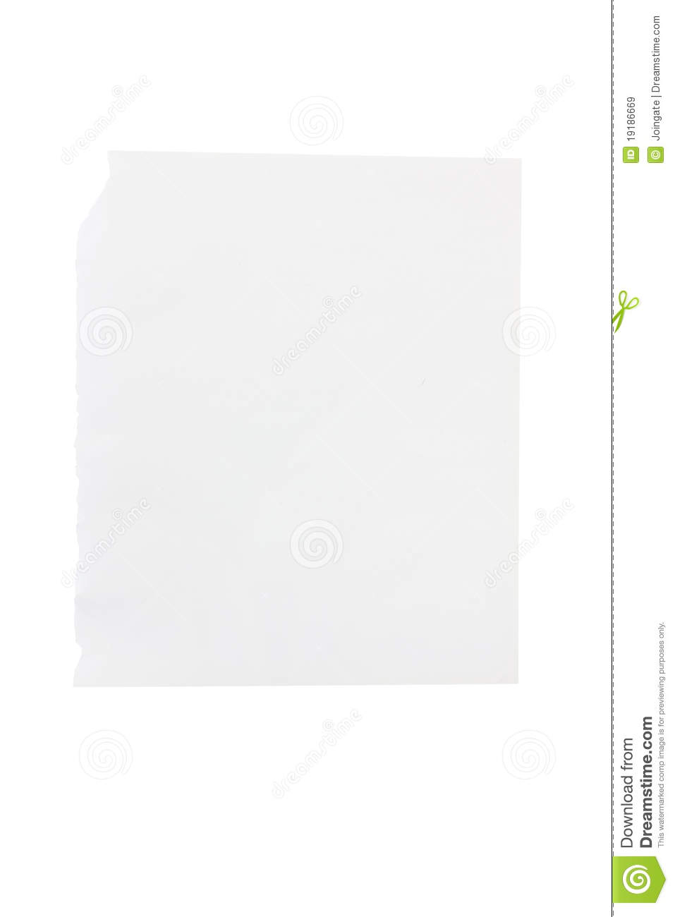 blank piece of torn notebook or sketchbook paper stock image - image