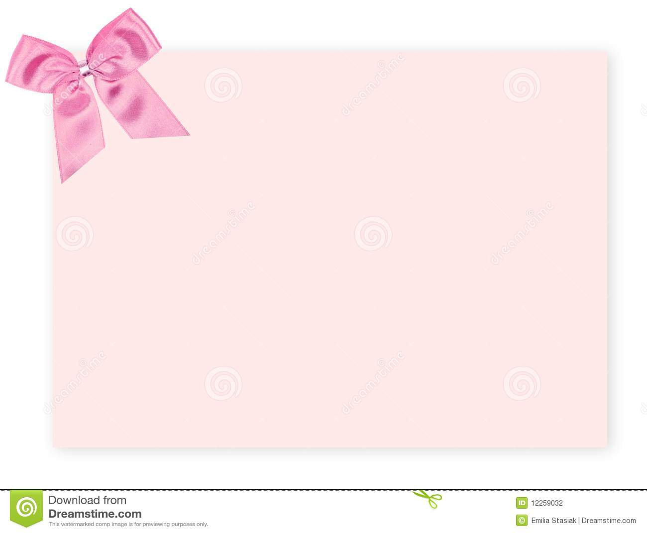 Blank pink gift tag tied with a bow of pink satin ribbon. On white ...