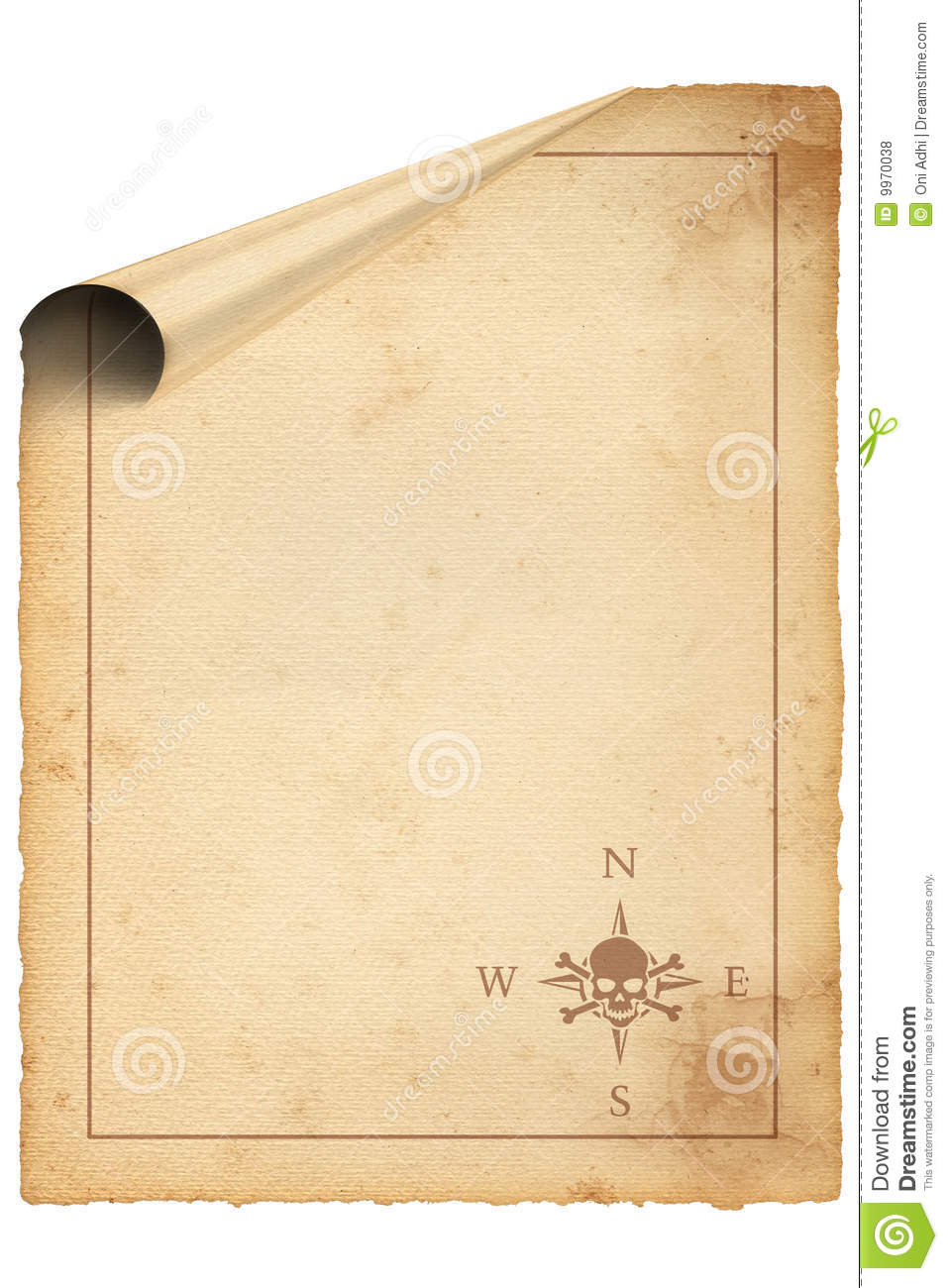 Blank Pirate Map With Skull Compass Royalty Free Stock Photos - Image: 9970038