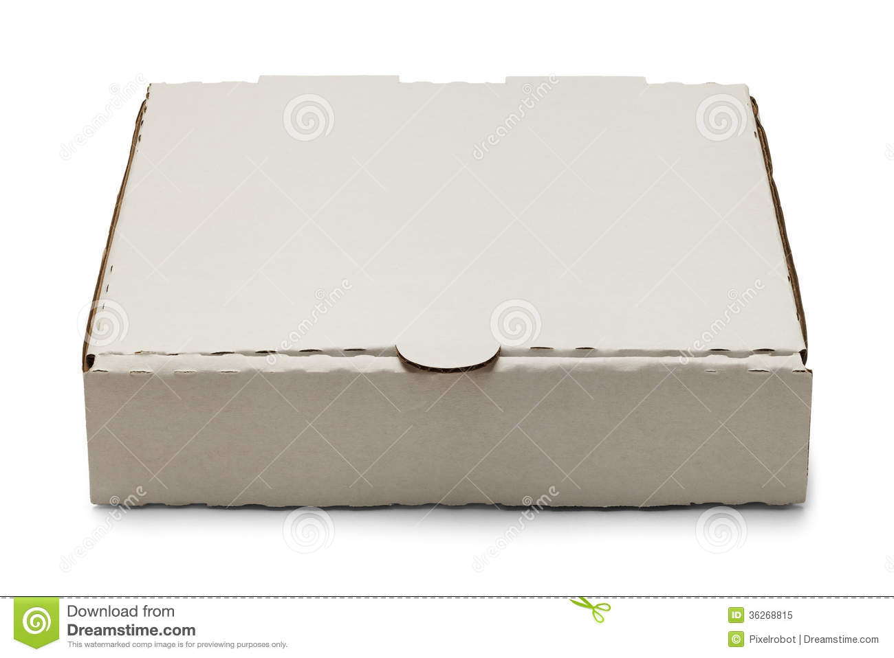 Blank White Cardboard Pizza Box Isolated on White Background.