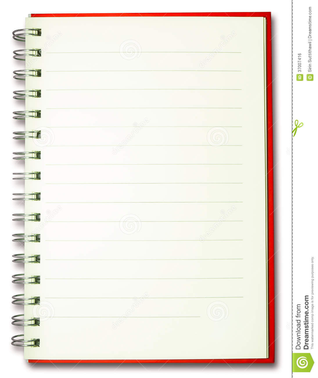 Notebook Cover Background : Blank plain line spiral red cover notebook isolate stock