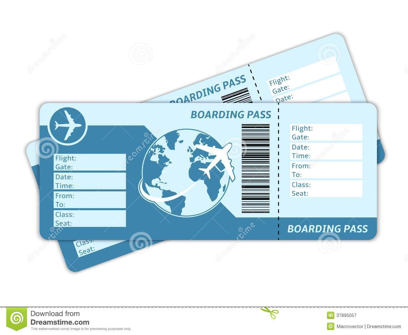 Blank Plane Tickets Royalty Free Stock Photography Image