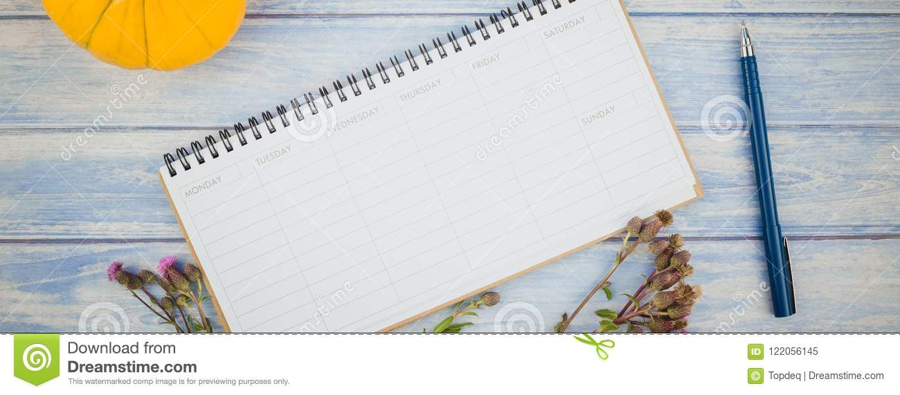 blank planner mock up with autumn pumpkins stock image image of