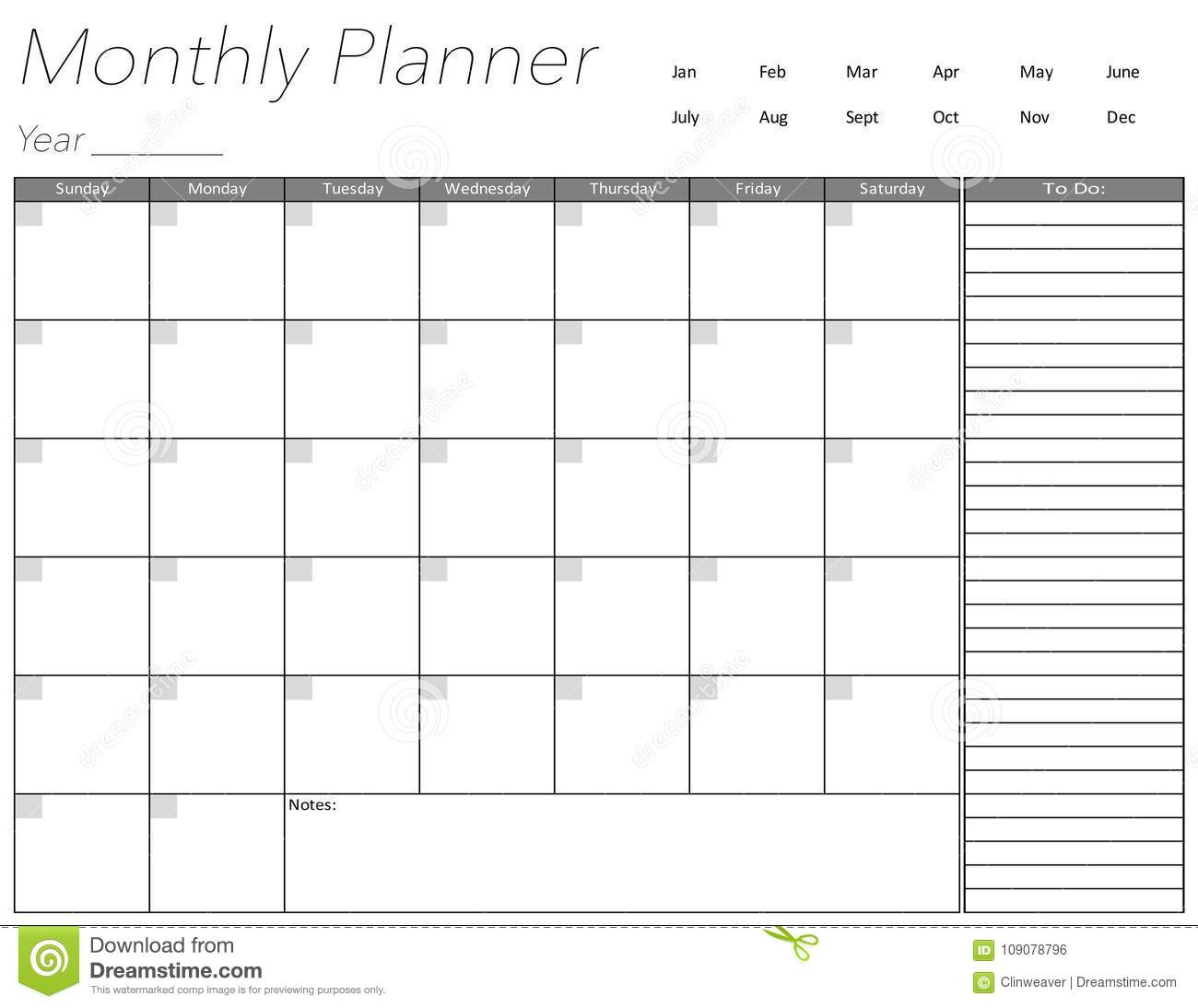 blank monthly planner page stock illustration illustration of