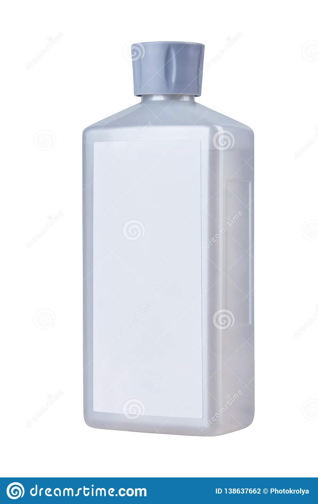 Blank plastic bottle with essential oils for aroma therapy lamp isolated