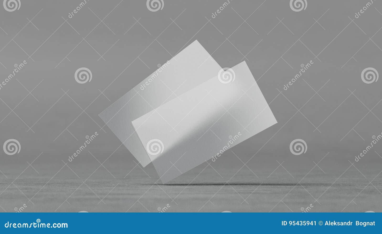 blank plastic transparent business cards mockups