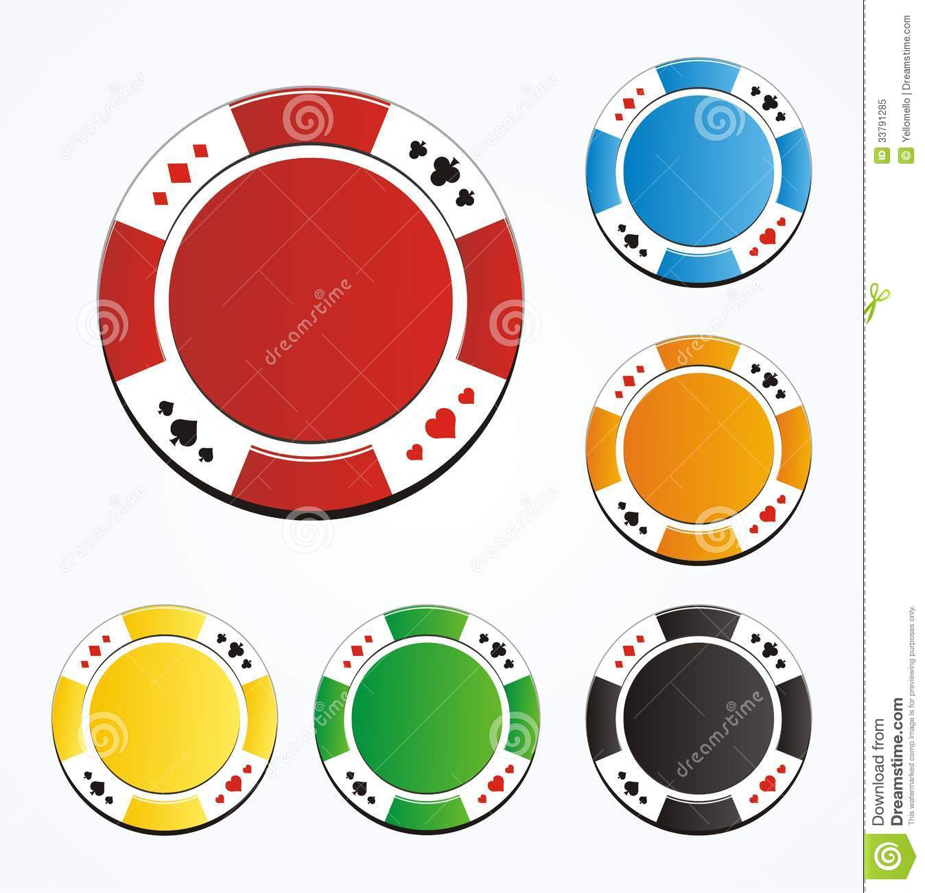 Blank Poker Chips Vector Royalty Free Stock Photo - Image: 33791285