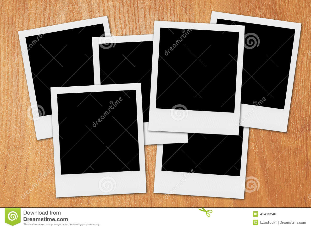 blank polaroid photo frames on the desk royalty free stock photos