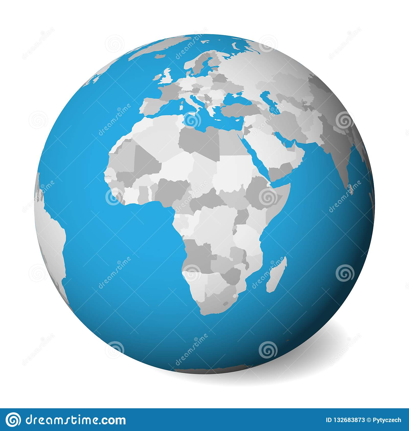 Blank Political Map Of Africa. 3D Earth Globe With Blue ... on alexandria map, eclipse map, love map, america map, fiction map,