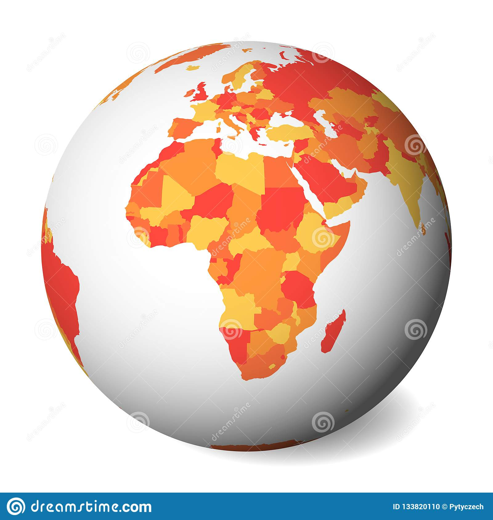Blank Political Map Of Africa. 3D Earth Globe With Orange Map