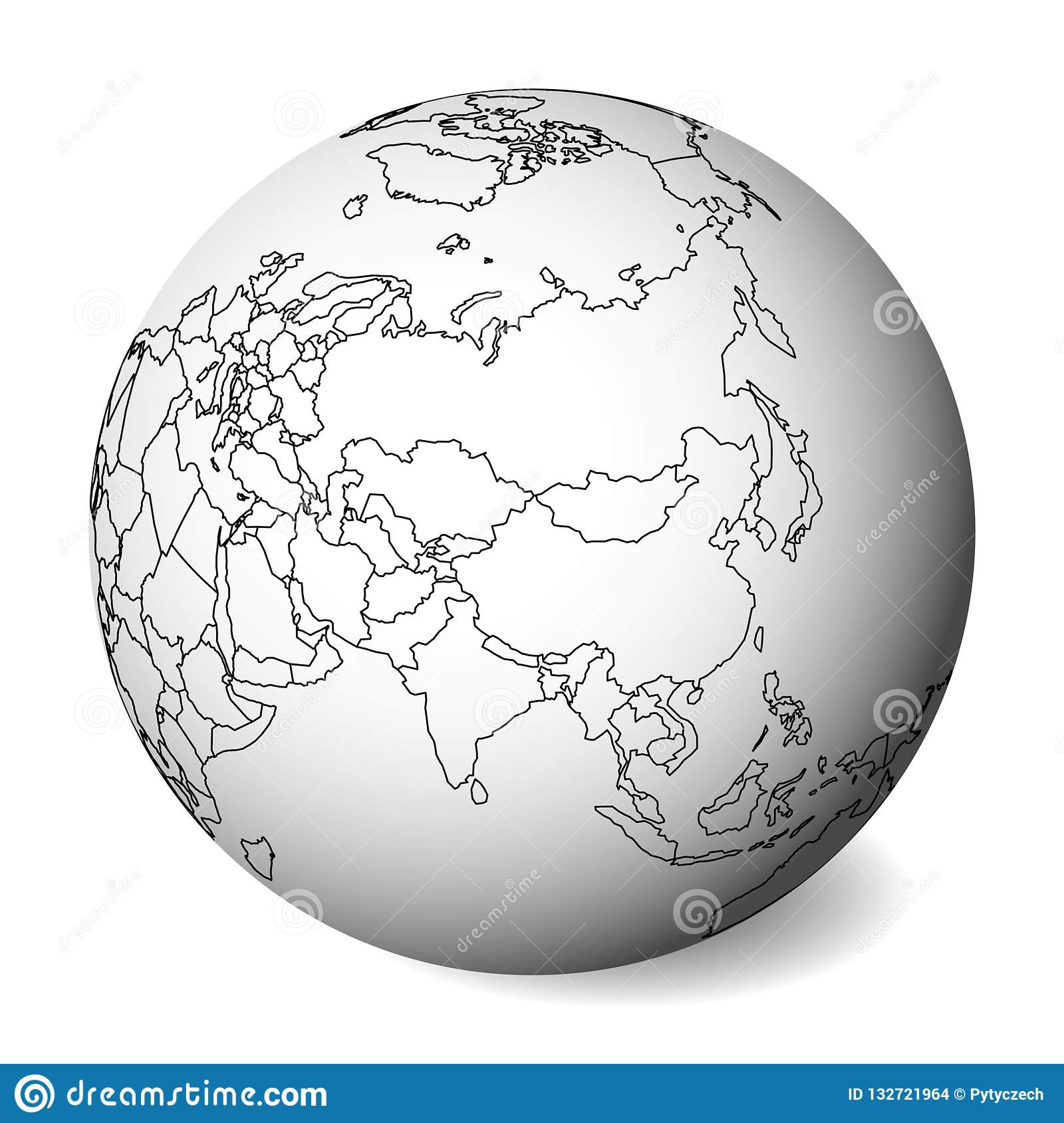 Blank Political Map Of Asia. 3D Earth Globe With Black Outline Map ...