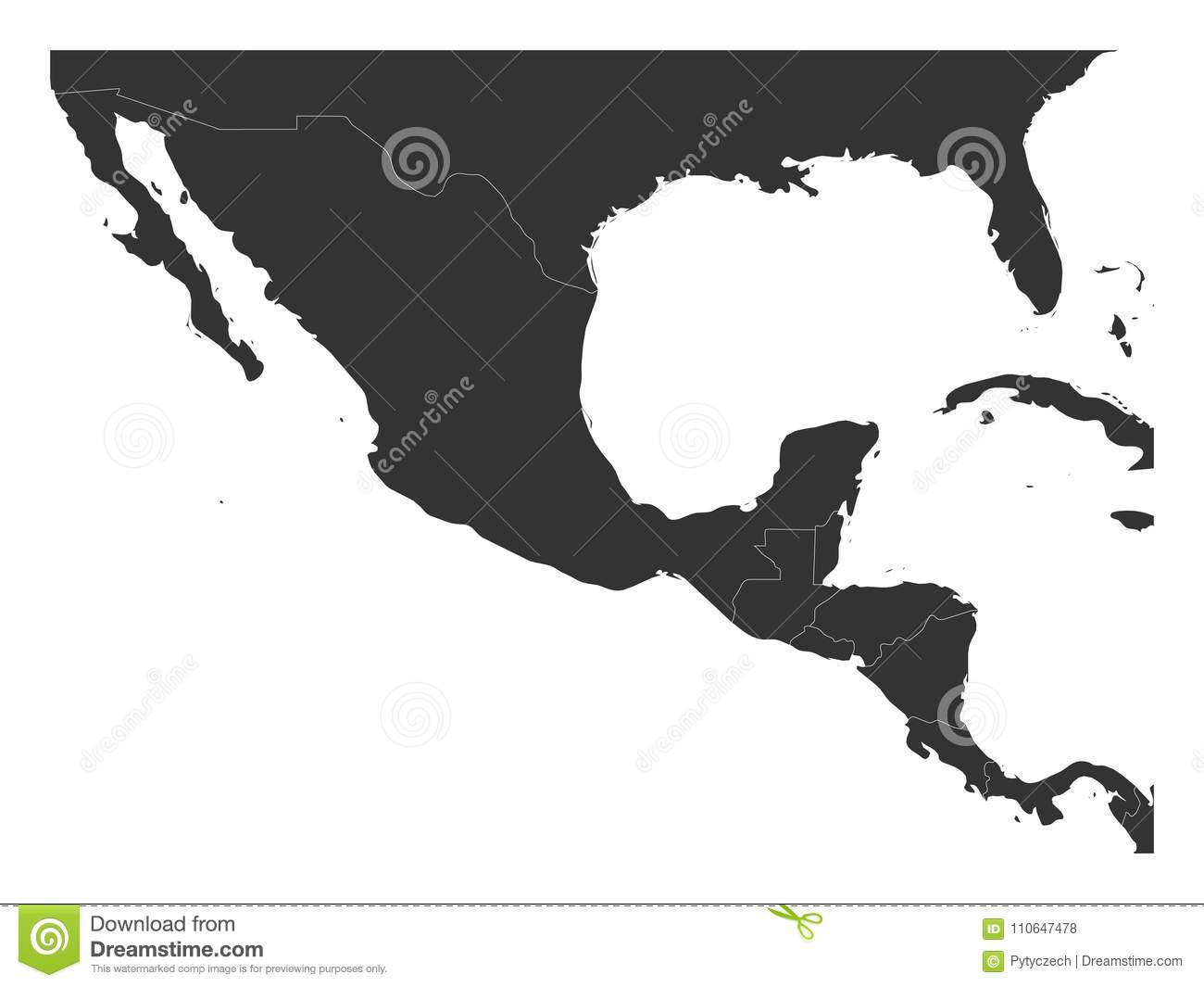 Blank Political Map Central America And Mexico Simple Dark Grey
