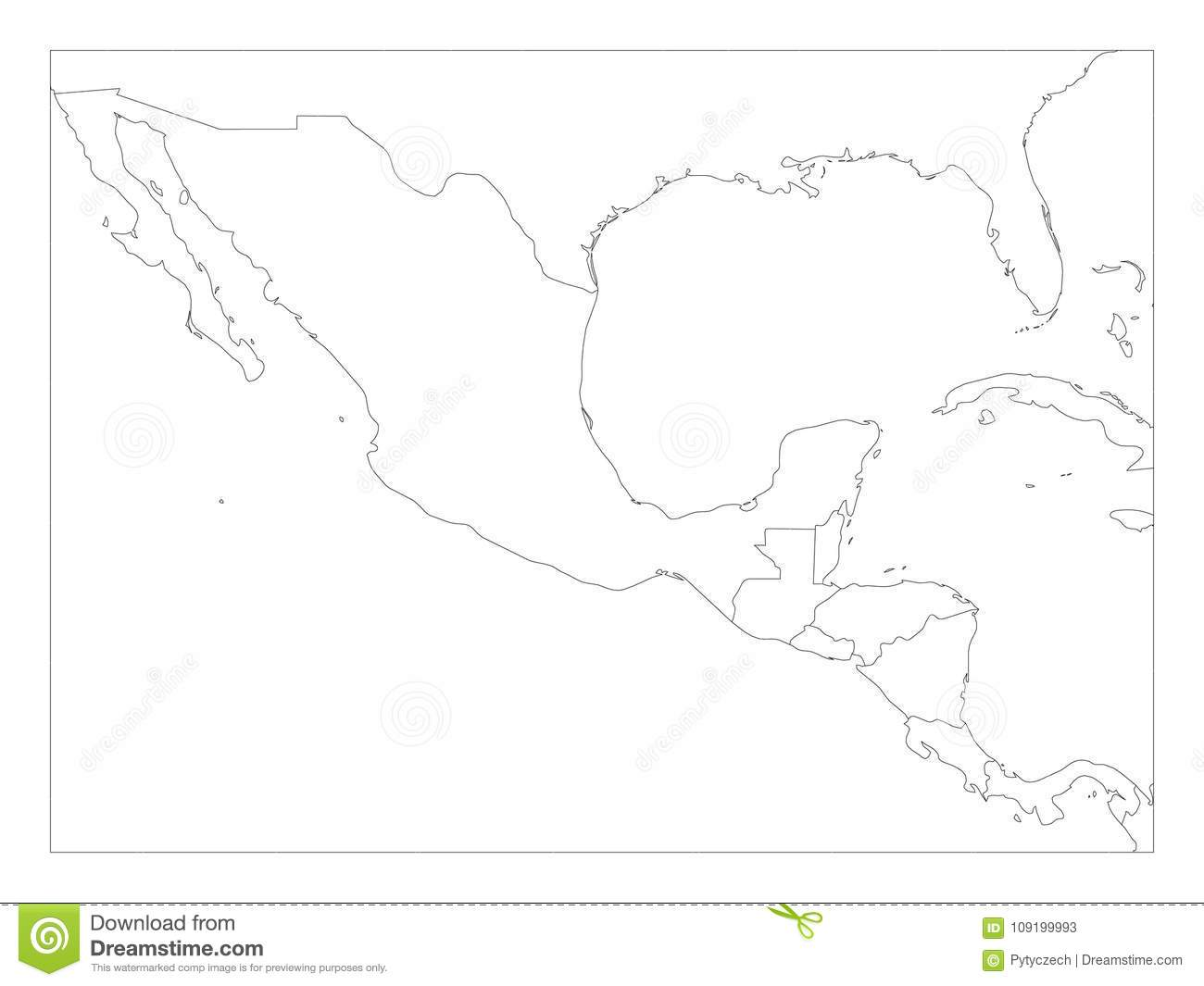Blank Political Map Of Central America And Mexico. Simple Thin Black ...