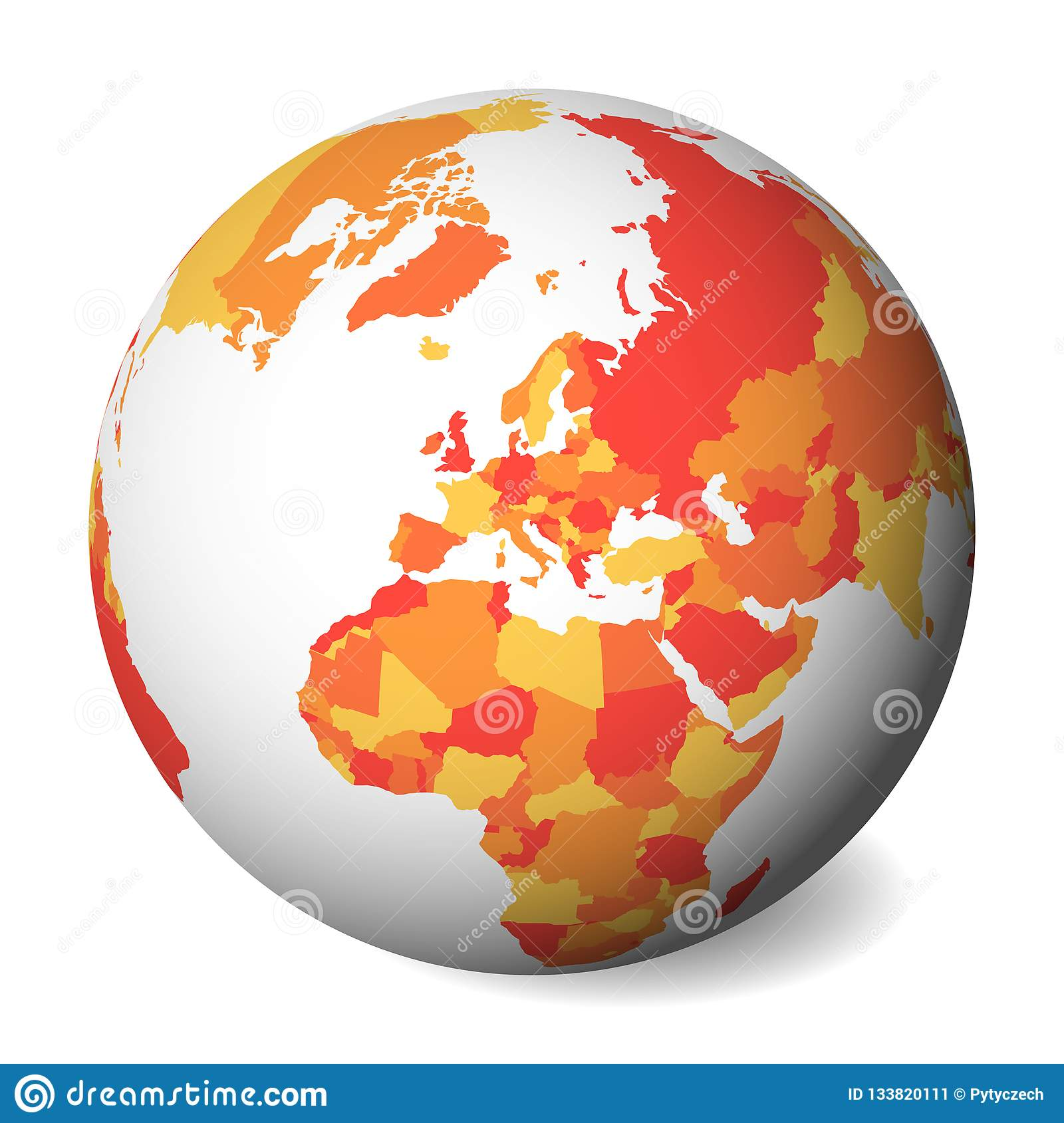 Political Map Of Europe Blank.Blank Political Map Of Europe 3d Earth Globe With Orange Map