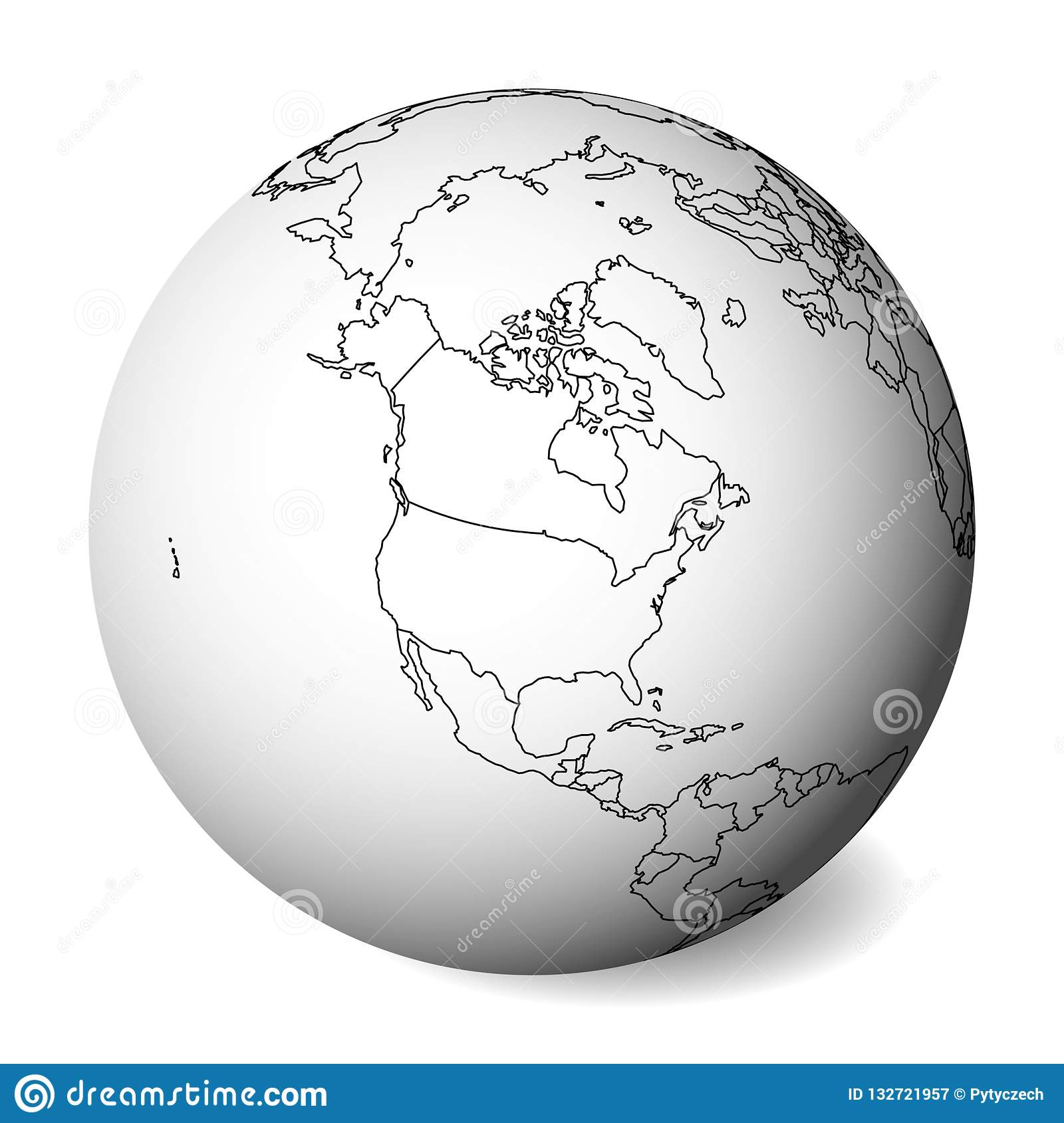 Blank Political Map Of North America 3d Earth Globe With Black