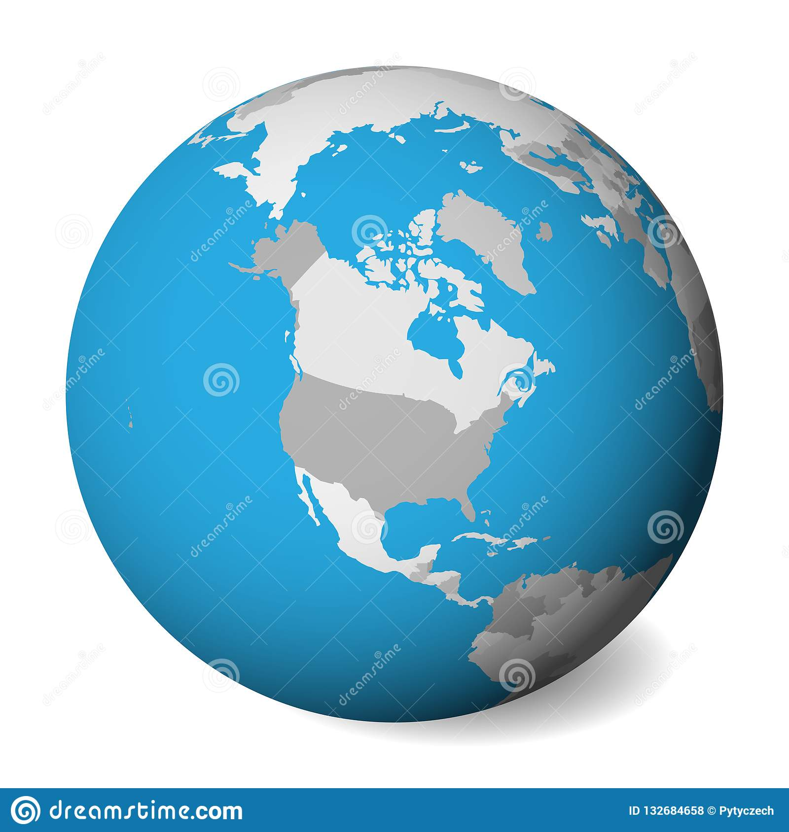 Blank Political Map Of North America. 3D Earth Globe With Blue Water on