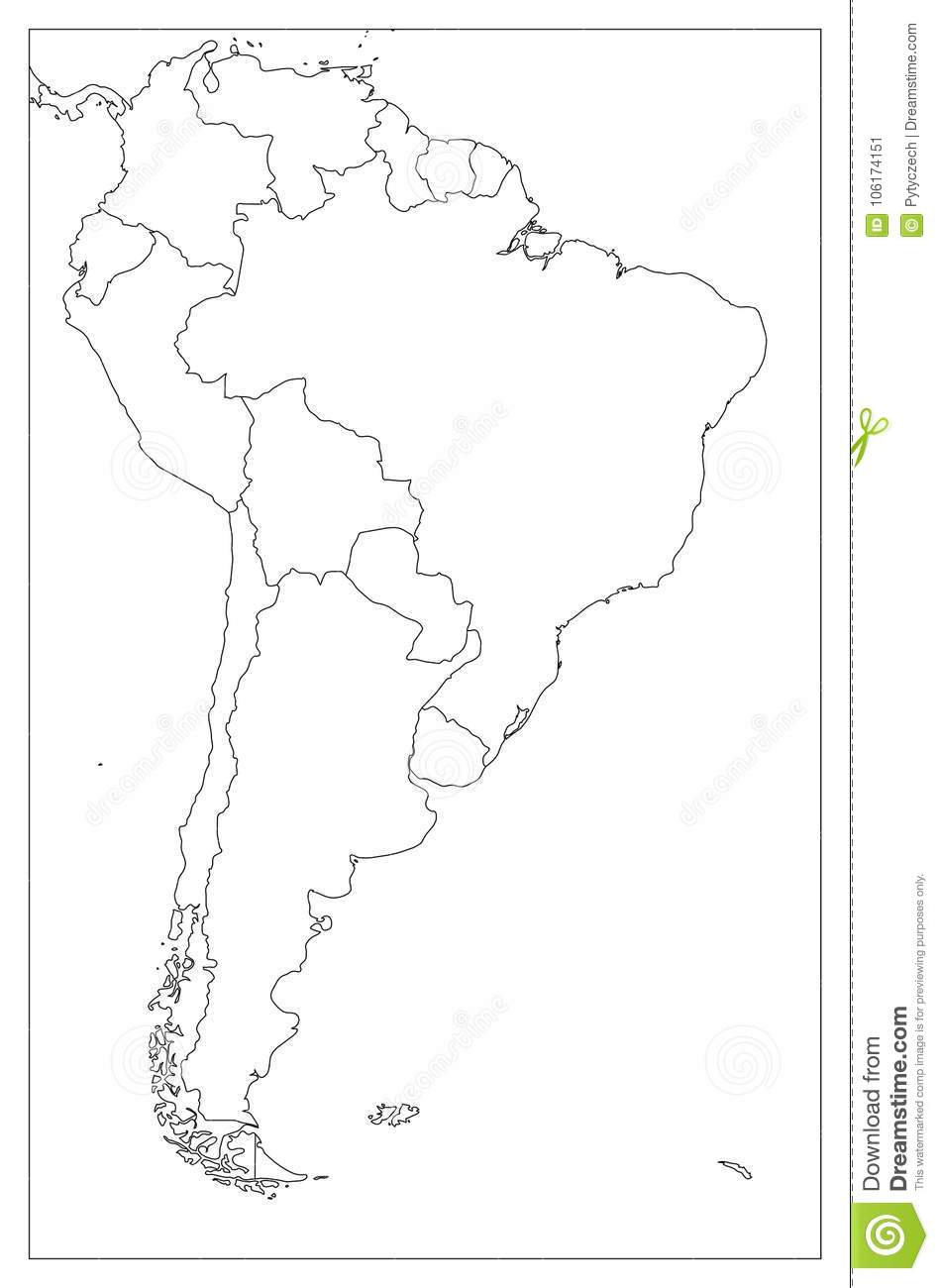 Blank Political Map Of South America Simple Flat Vector Outline Map - Blank-political-map-of-us