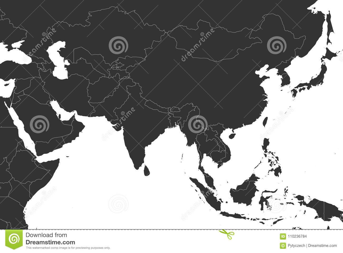 Blank Political Map Of Western, Southern And Eastern Asia In Grey ...