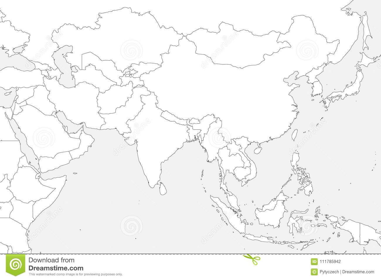 Blank Political Map Of Western Southern And Eastern Asia Thin