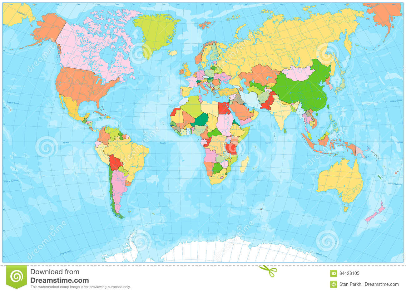 Blank Political World Map With With Rivers, Lakes, Seas And Ocea ...
