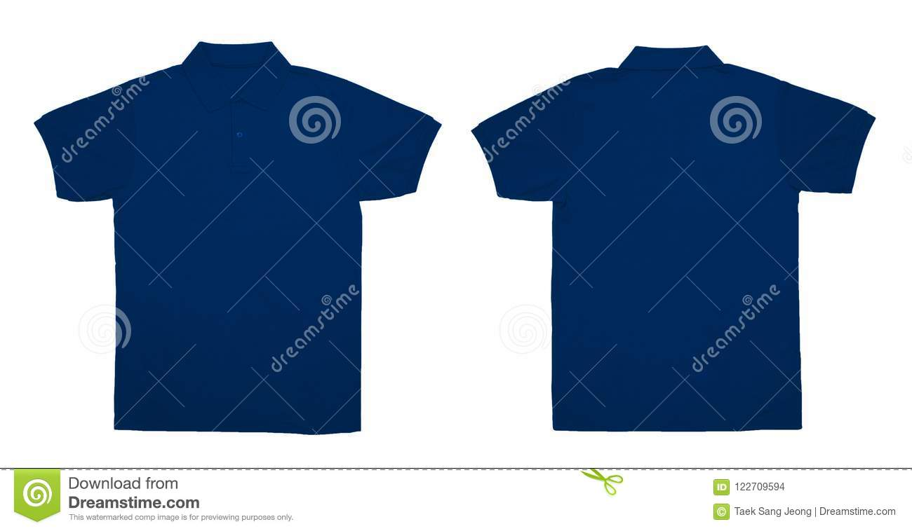 Blank Polo Shirt Color Navy Front And Back View Stock Photo