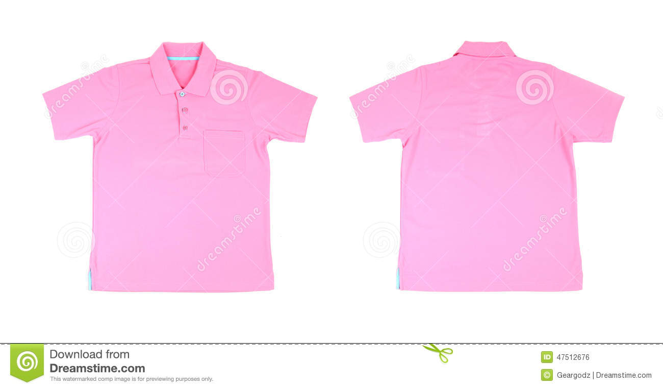 Blank polo shirt set front back stock photo image for Baby pink polo shirt