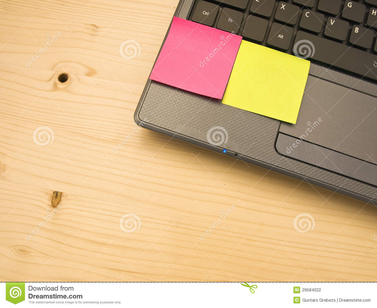 blank post it notes on a laptop pc stock photography. Black Bedroom Furniture Sets. Home Design Ideas