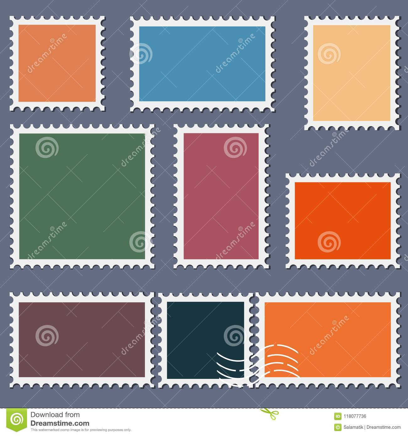 blank postage stamps template set on dark background rectangle and