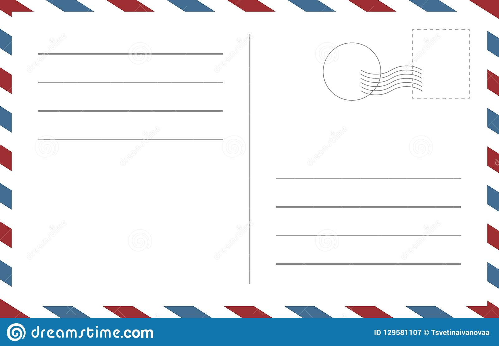 Blank postcard template. Backside of a postcart design vector blank template
