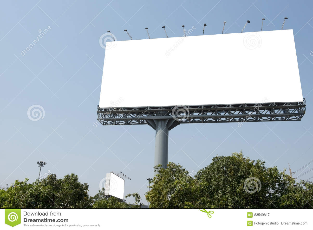 blank poster board wall out side modern shopping mall stock image