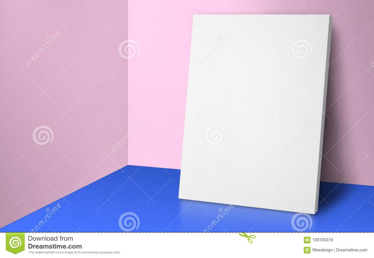 Blank poster at corner pastel pink and blue studio room with wall and floor background,Mock up studio room for display or montage