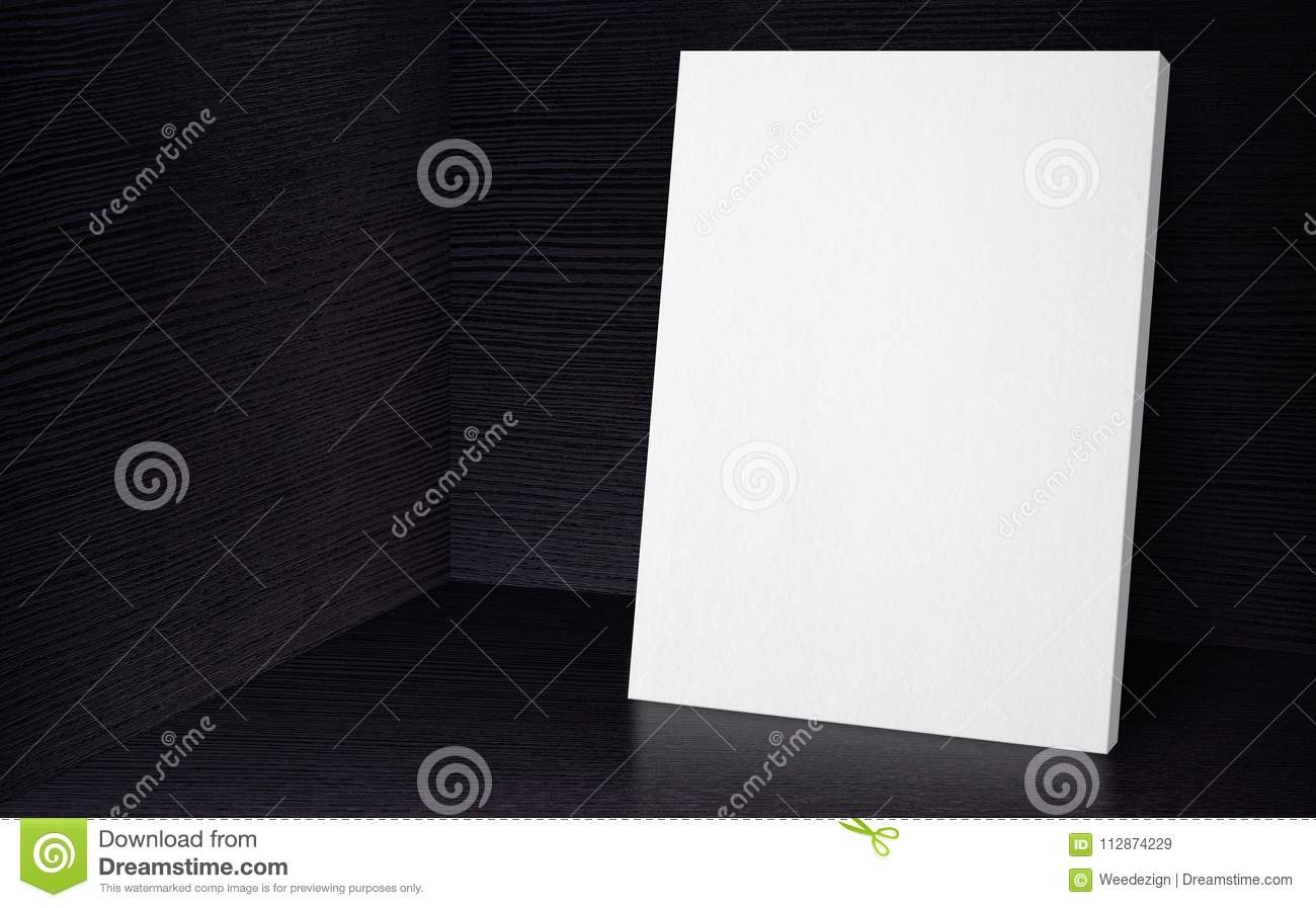 Blank poster at corner studio room with black wooden wall and fl