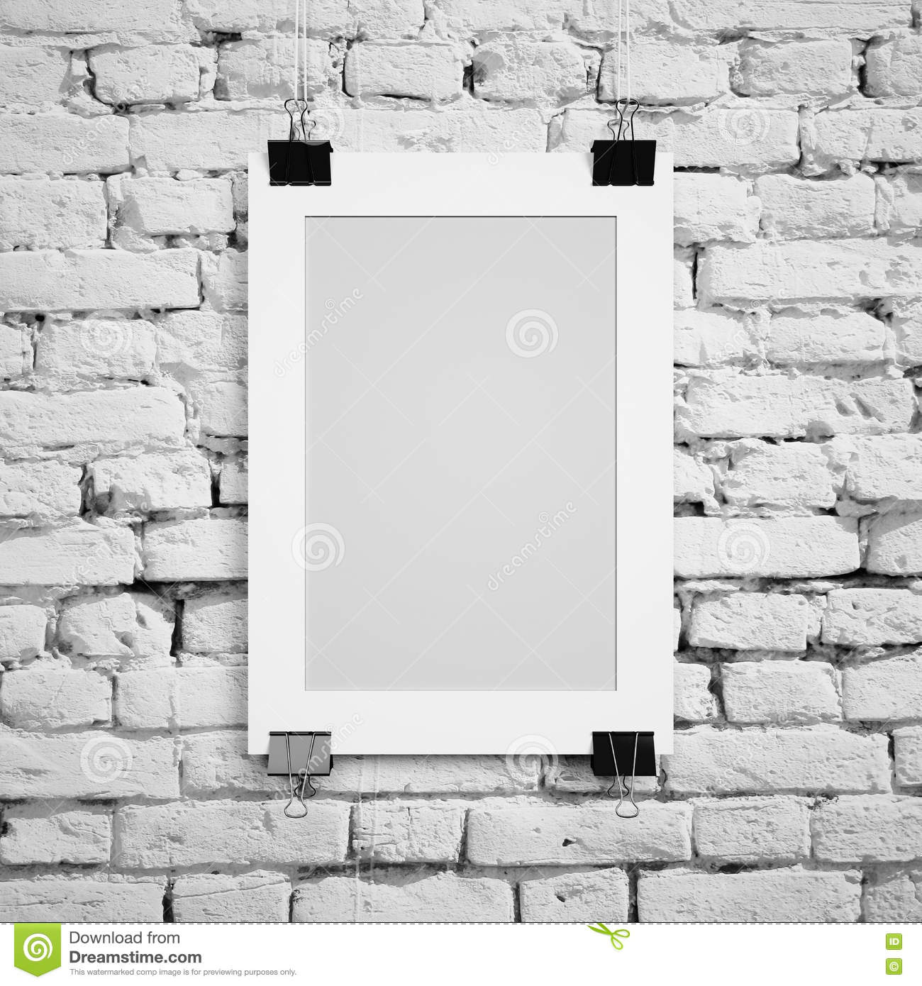 blank poster hanging in a frame on a background of white painted brick wall stock illustration. Black Bedroom Furniture Sets. Home Design Ideas