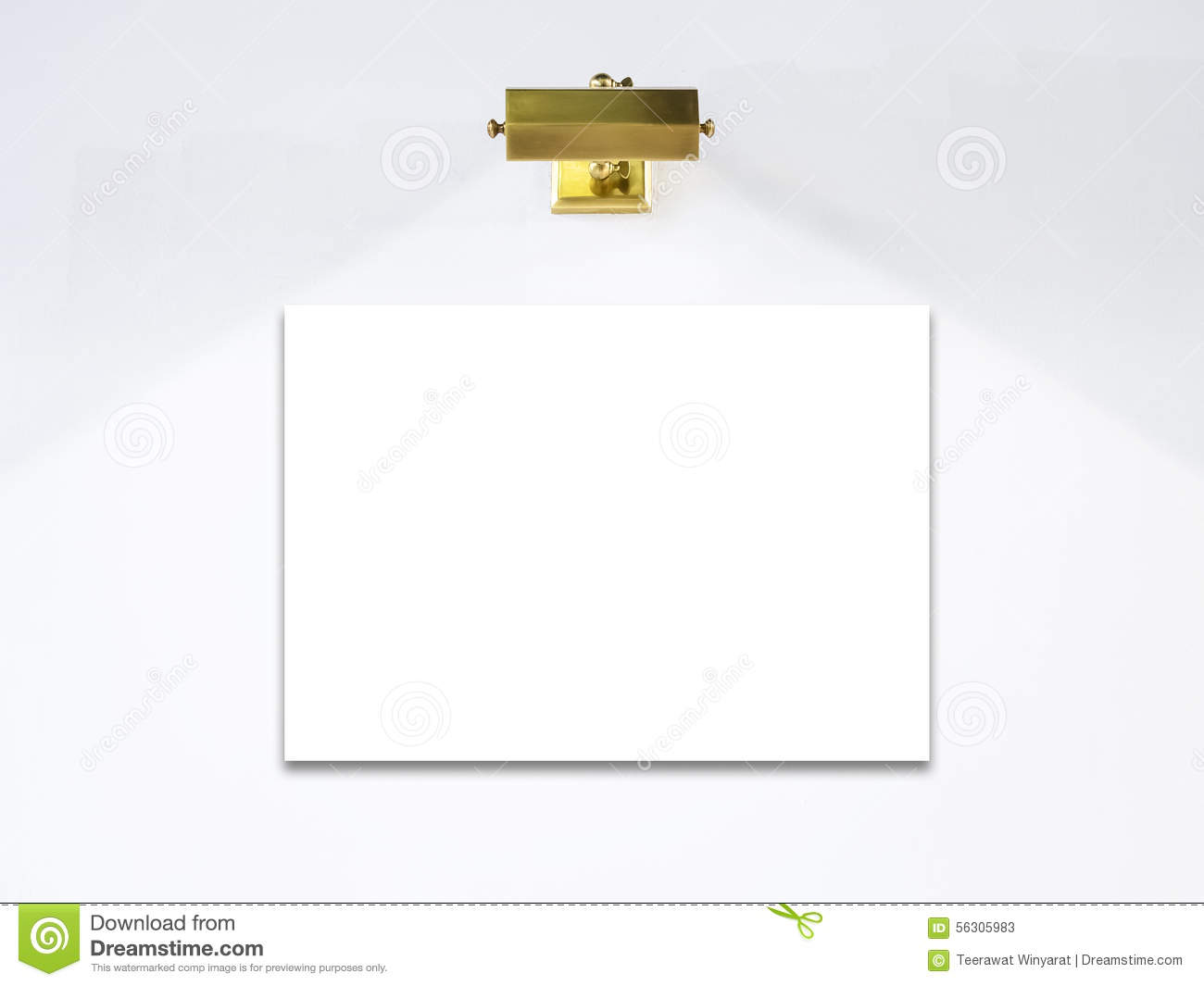 blank poster template with lighting on white wall stock image