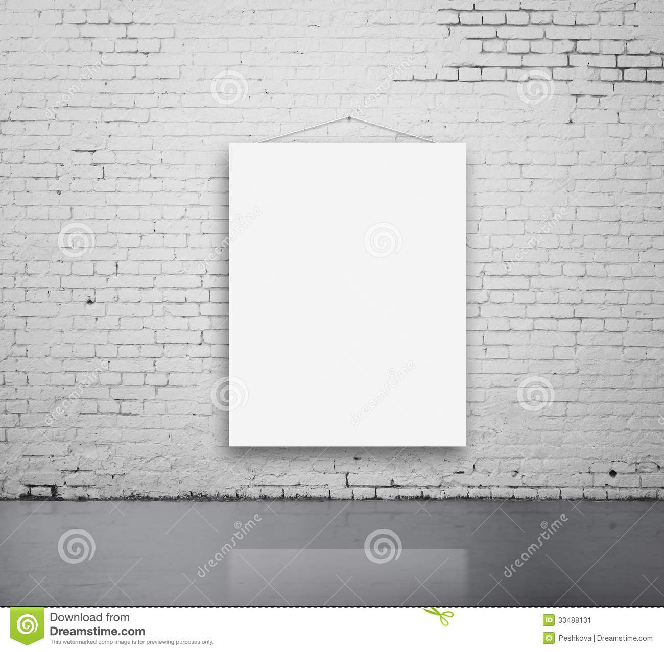 blank poster on wall stock image image of hanging brick 33488131