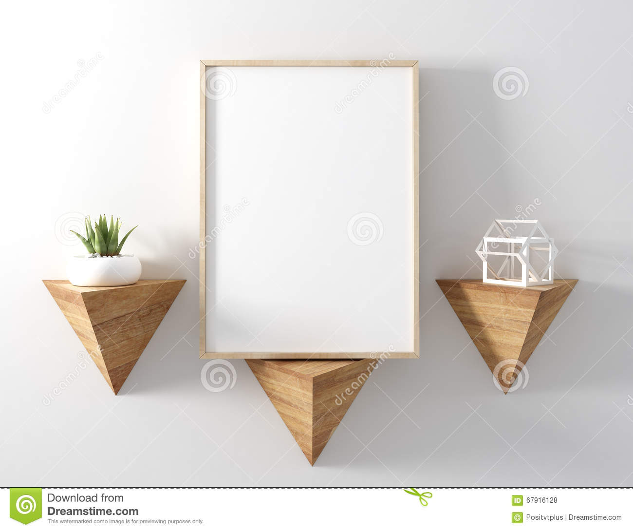 Blank Poster Wood Frame On Modern Triangle Shelf With White Back ...