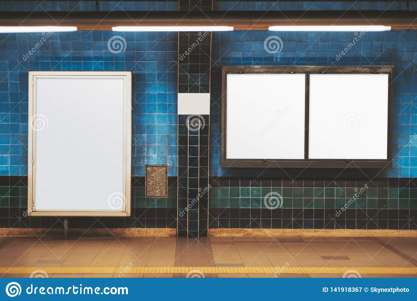 Blank Posters Mockup In A Subway Stock Image - Image of