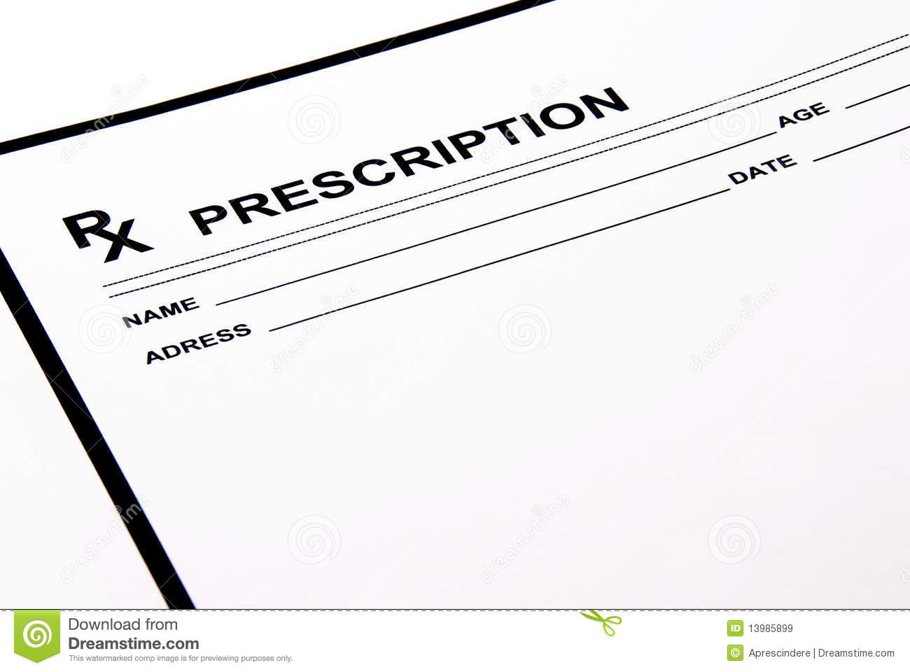 Blank Prescription Pad Royalty Free Stock Images - Image: 13985899